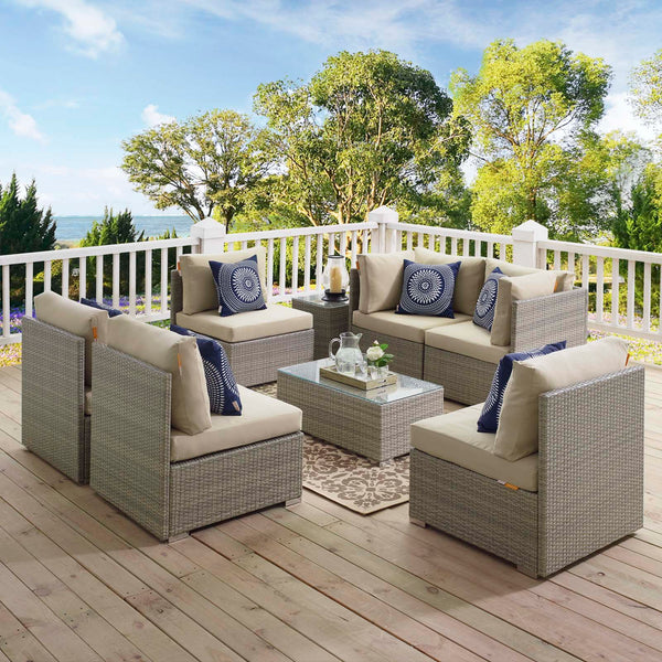 Repose 7 Piece Outdoor Patio Sunbrella Sectional Set - Light Gray Beige