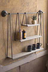 WOOD AND METAL TRIPLE HANGING SHELF