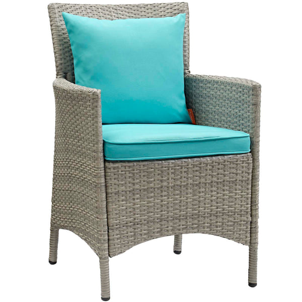 Conduit Outdoor Patio Wicker Rattan Dining Armchair Set of 2 - Light Gray Turquoise