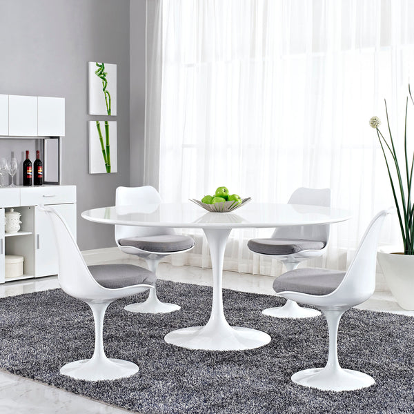 "Lippa 60"""" Wood Top Dining Table in White"