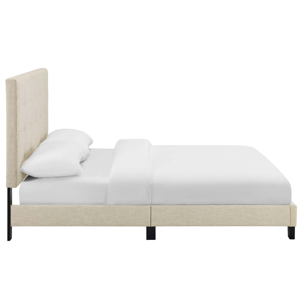 Melanie Twin Tufted Button Upholstered Fabric Platform Bed - Beige