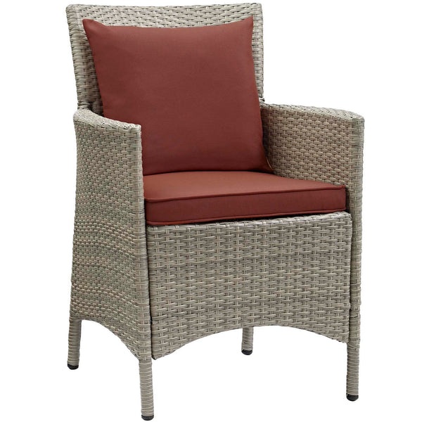 Conduit Outdoor Patio Wicker Rattan Dining Armchair Set of 4 - Light Gray Currant