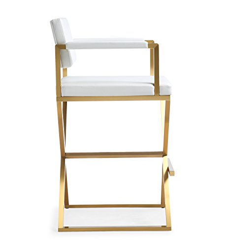 Director White Gold Steel Barstool