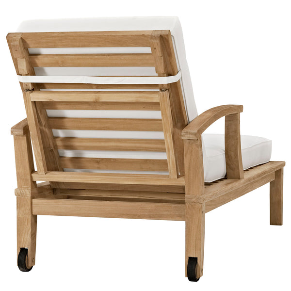 Marina Outdoor Patio Teak Single Chaise - Natural White