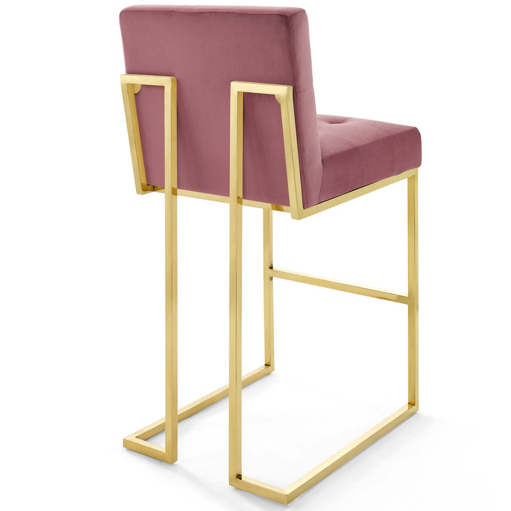 Privy Gold Stainless Steel Performance Velvet Bar Stool Set of 2 - Gold Dusty Rose