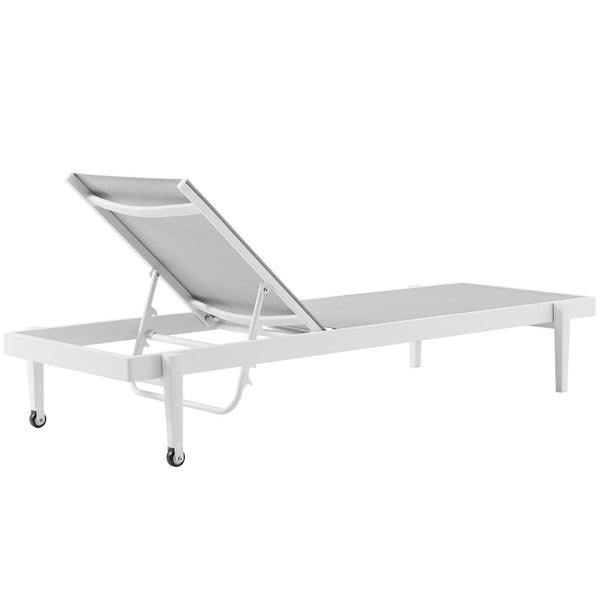 Charleston Outdoor Patio Aluminum Chaise Lounge Chair Set of 4 - White Gray