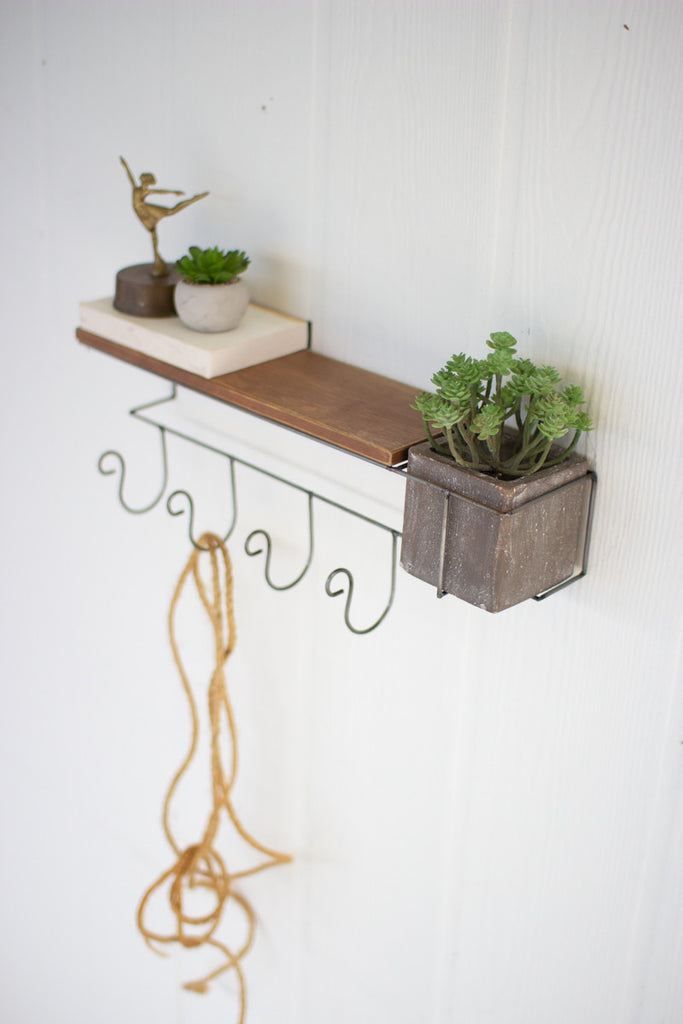Wall Shelf and Coat Rack with Grey Clay Planter