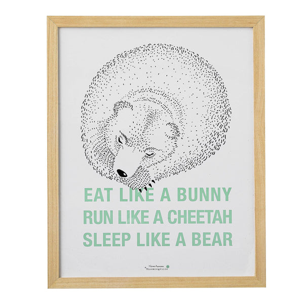 Wood Framed Eat.Run.Sleep Wall Decor, White