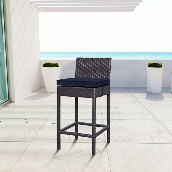 Convene Outdoor Patio Fabric Bar Stool - Espresso Navy
