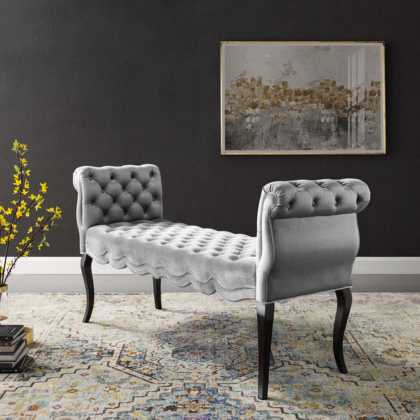 Adelia Chesterfield Style Button Tufted Performance Velvet Bench - Light Gray