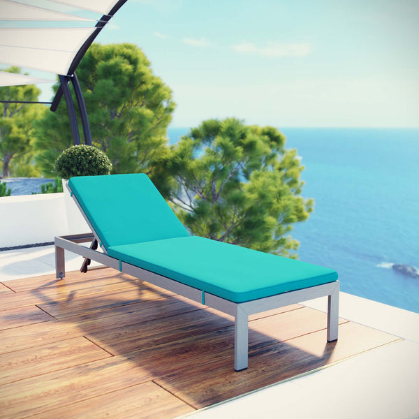 Shore Outdoor Patio Aluminum Chaise with Cushions - Silver Turquoise