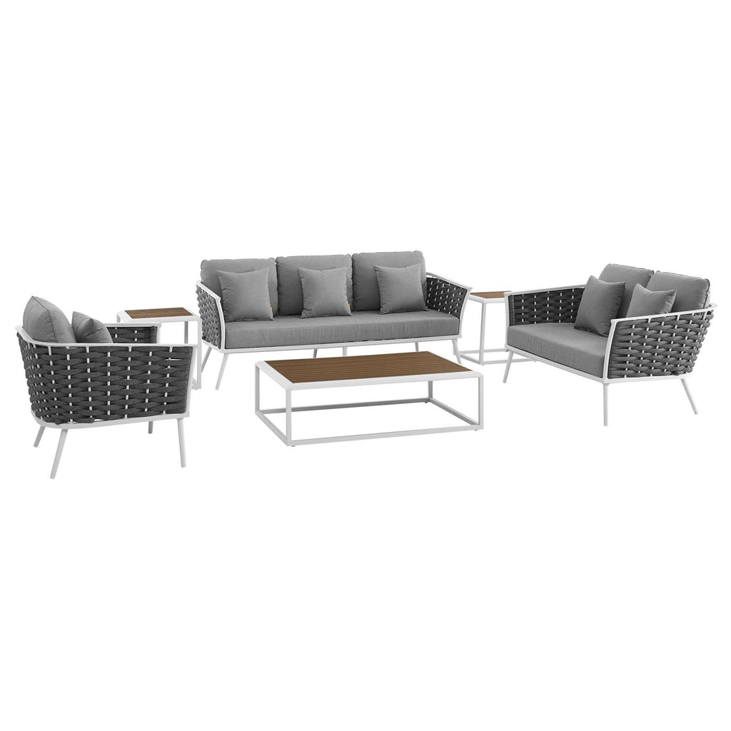 Stance 6 Piece Outdoor Patio Aluminum Sectional Sofa Set - White Gray