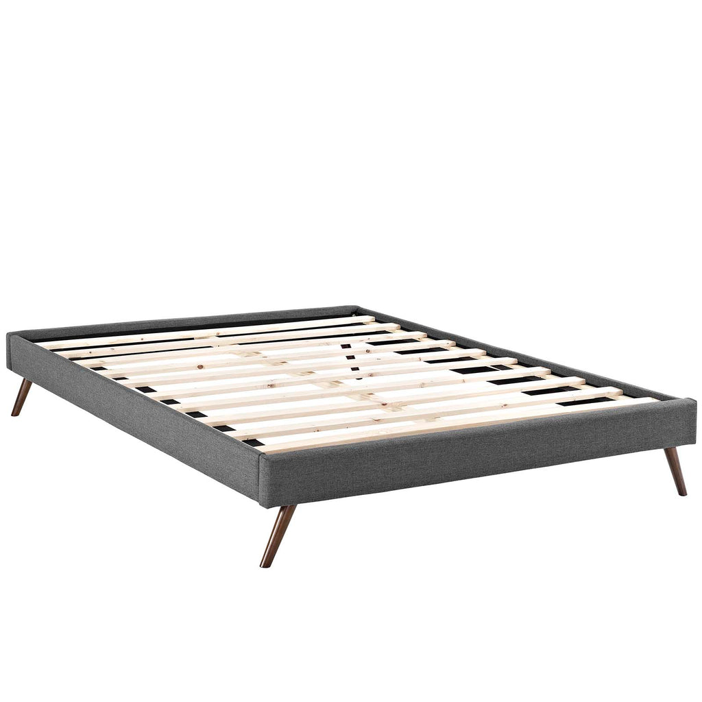 Loryn Full Fabric Bed Frame with Round Splayed Legs - Gray