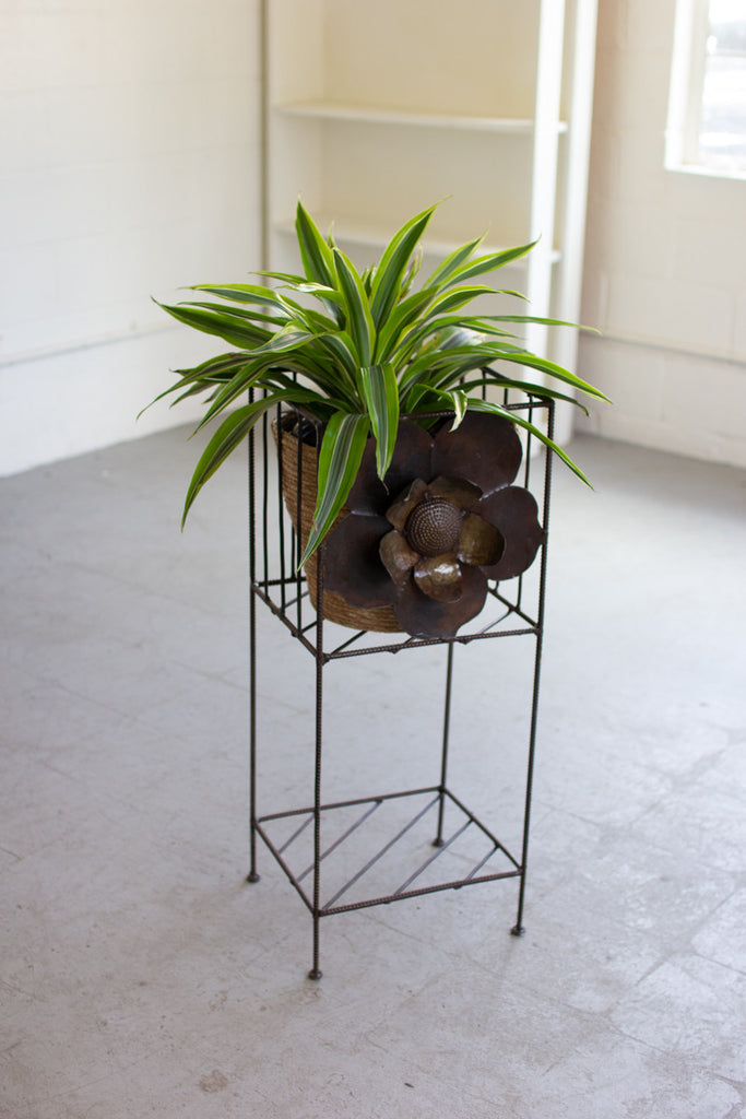 Rustic Iron Planter with Metal Flower Detail