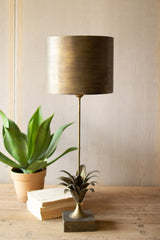 Antique Gold Metal Table Lamp with Leaf Accent and Metal Shade
