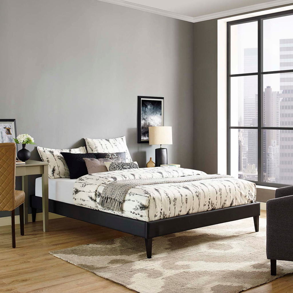Tessie King Vinyl Bed Frame with Squared Tapered Legs - Black