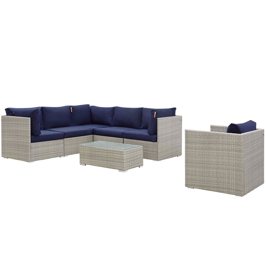 Repose 7 Piece Outdoor Patio Sunbrella® Sectional Set - Light Gray Navy
