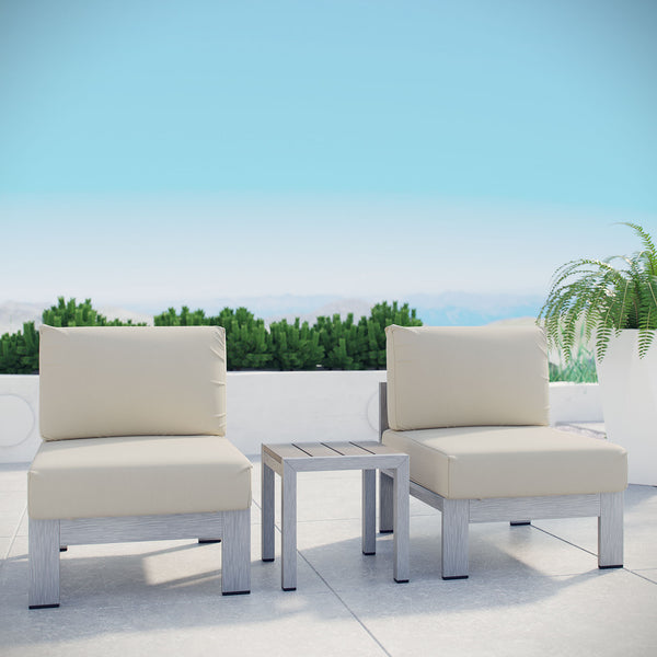 Shore 3 Piece Outdoor Patio Aluminum Sectional Sofa Set - Silver Beige