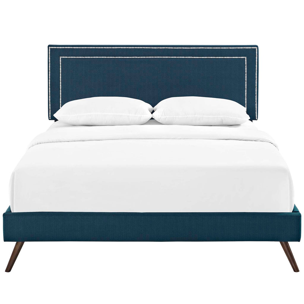 Virginia King Fabric Platform Bed with Round Splayed Legs - Azure