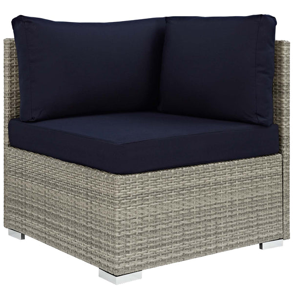 Repose 7 Piece Outdoor Patio Sunbrella Sectional Set - Light Gray Navy