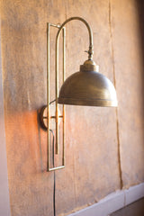 Metal Wall Light with Antique Brass Finish