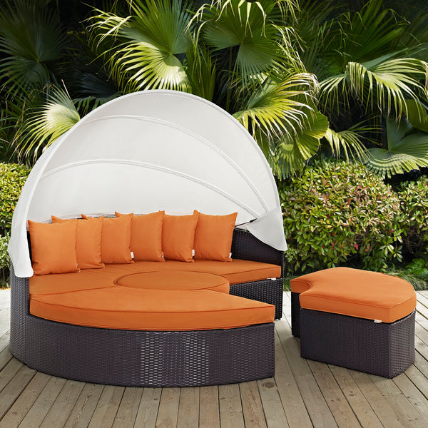 Convene Canopy Outdoor Patio Daybed - Espresso Orange