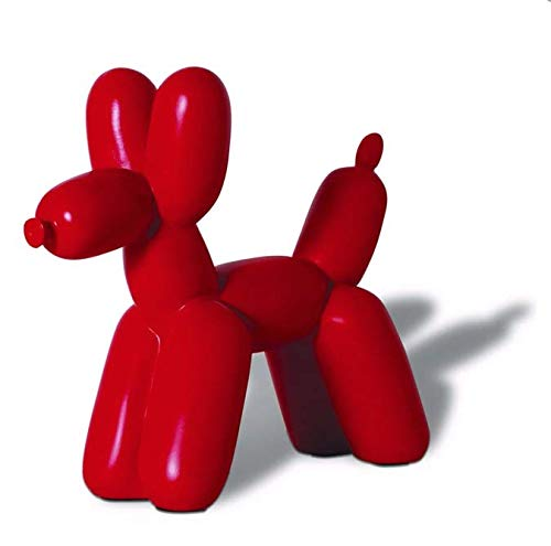 Balloon Dog Sculpture - Ceramic Dog Statues, Dog Figurine (Red)