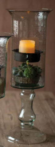 Medium Glass Candle Cylinder with Metal Insert and Glass Base