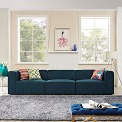 Mingle 3 Piece Upholstered Fabric Sectional Sofa Set - Blue