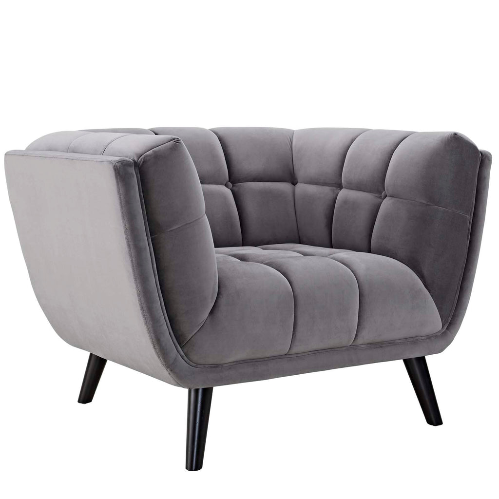 Bestow Performance Velvet Armchair - Gray