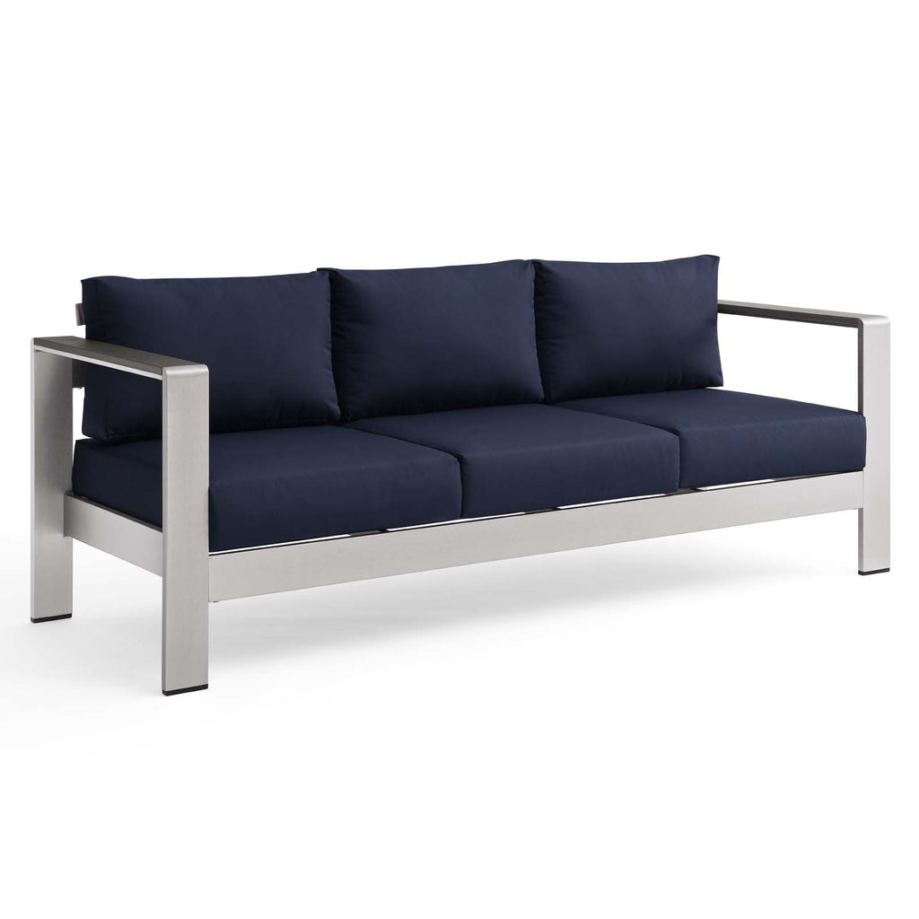 Shore Outdoor Patio Aluminum Sofa - Silver Navy