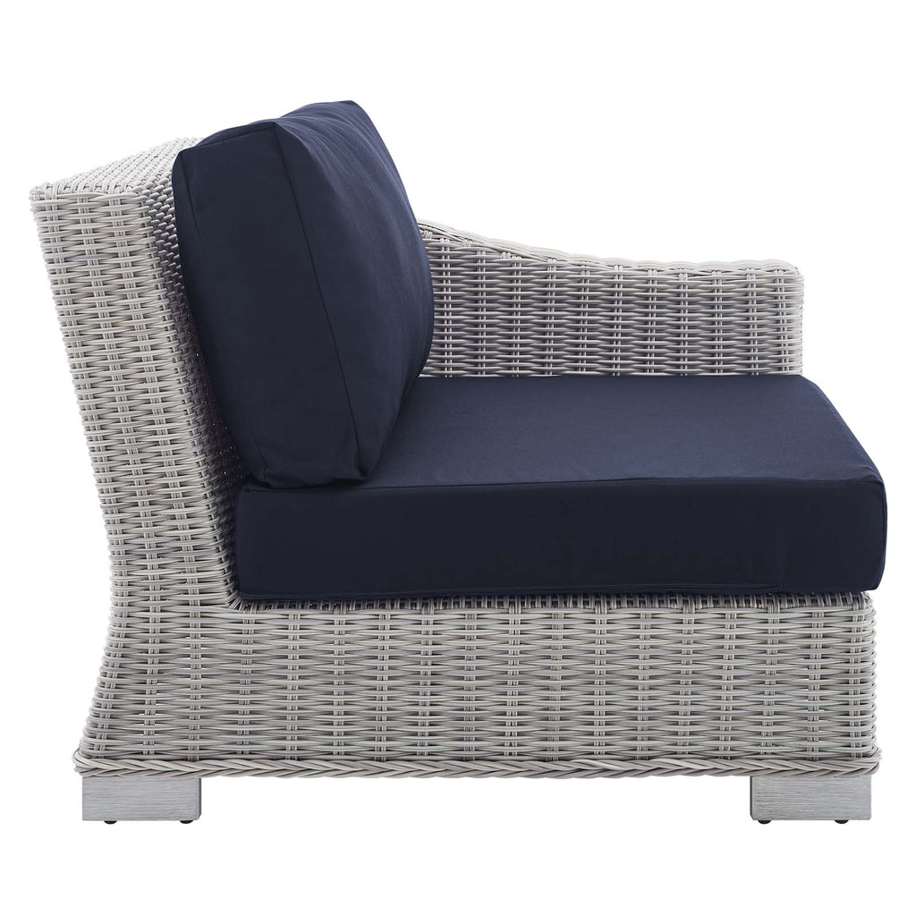 Conway Sunbrella® Outdoor Patio Wicker Rattan Right-Arm Chair - Light Gray Navy