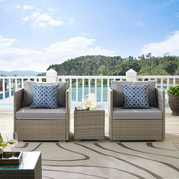 Repose 3 Piece Outdoor Patio Sectional Set - Light Gray Gray