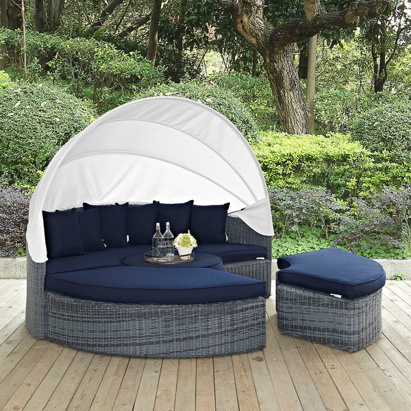 Summon Canopy Outdoor Patio Sunbrella Daybed - Canvas Navy