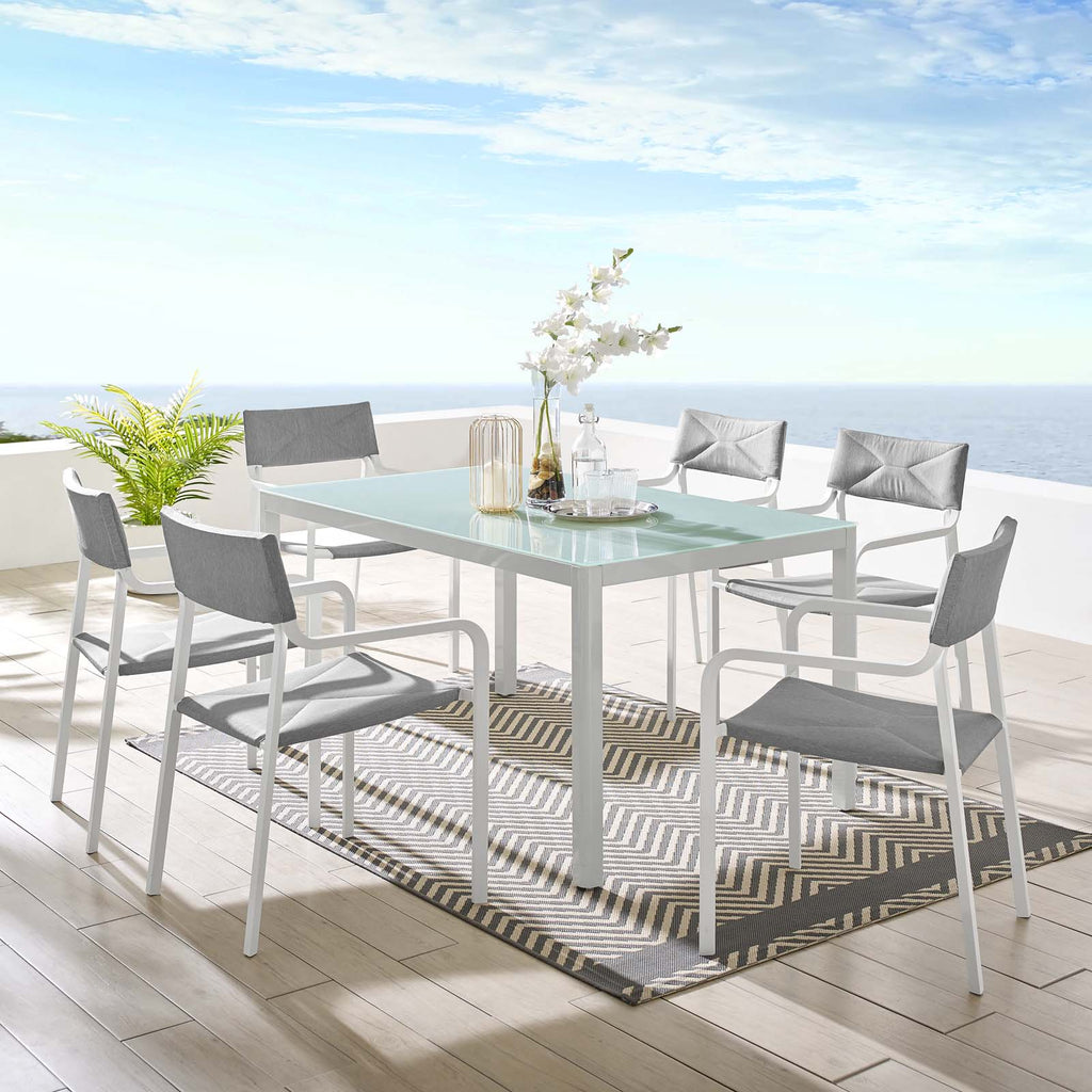 Raleigh 7 Piece Outdoor Patio Aluminum Dining Set - White Gray