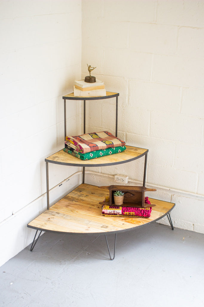 Recycled Wood and Iron Three Tiered Corner Display