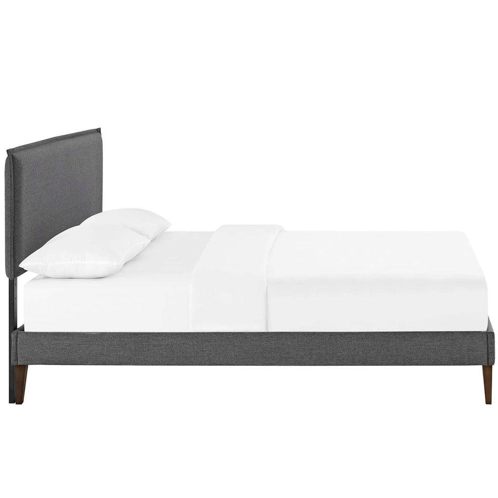 Amaris King Fabric Platform Bed with Squared Tapered Legs - Gray