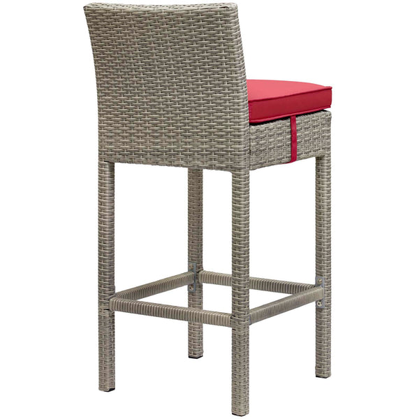 Conduit Bar Stool Outdoor Patio Wicker Rattan Set of 2 - Light Gray Red