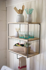 Metal Wall Cubby with Hanging Bar and Recycled Wood Shelves