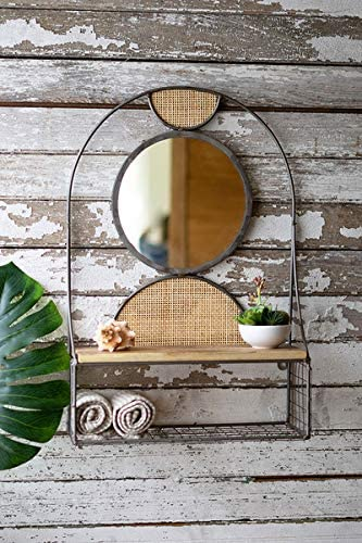 Metal Wall Shelf & Mirror W Recy Wood Shelf W Rattan Detail