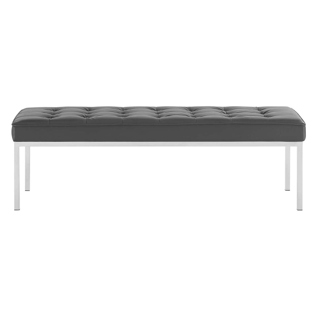 Loft Tufted Large Upholstered Faux Leather Bench - Silver Gray