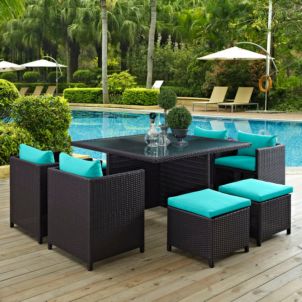 Inverse 9 Piece Outdoor Patio Dining Set - Espresso Turquoise
