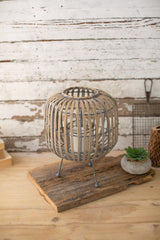 Oval Willow Lantern On a Stand - Small