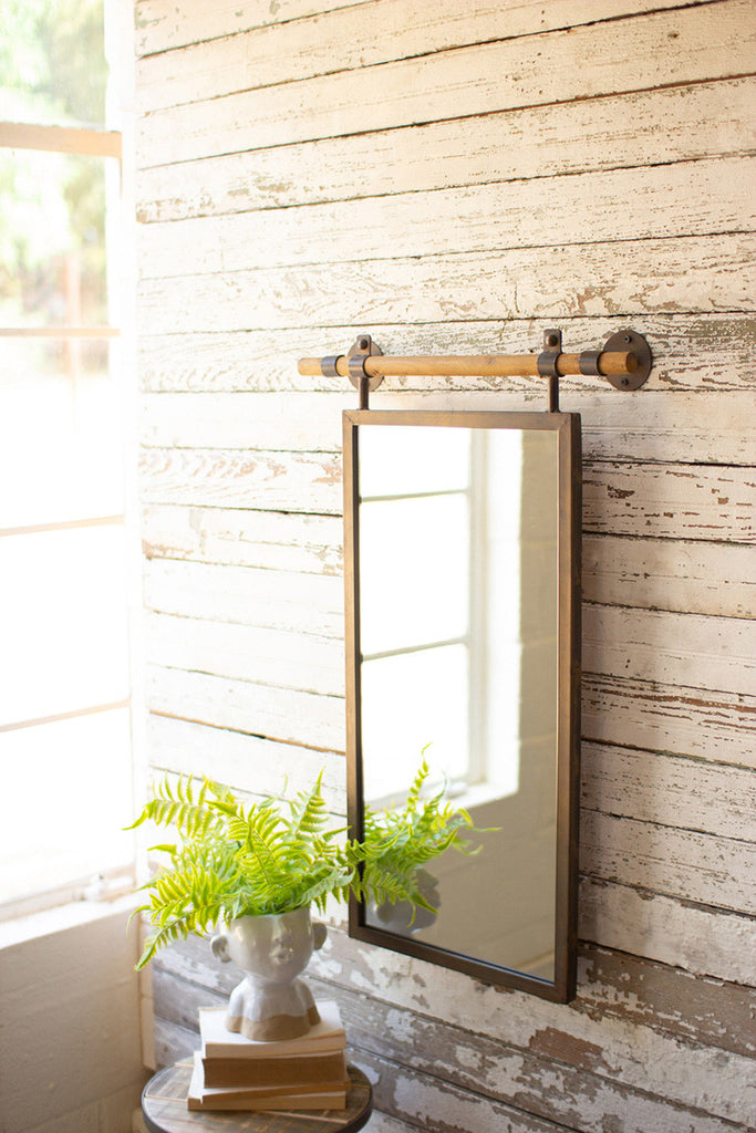 Rectangle Wall Mirror with Wooden Dowel Hanger