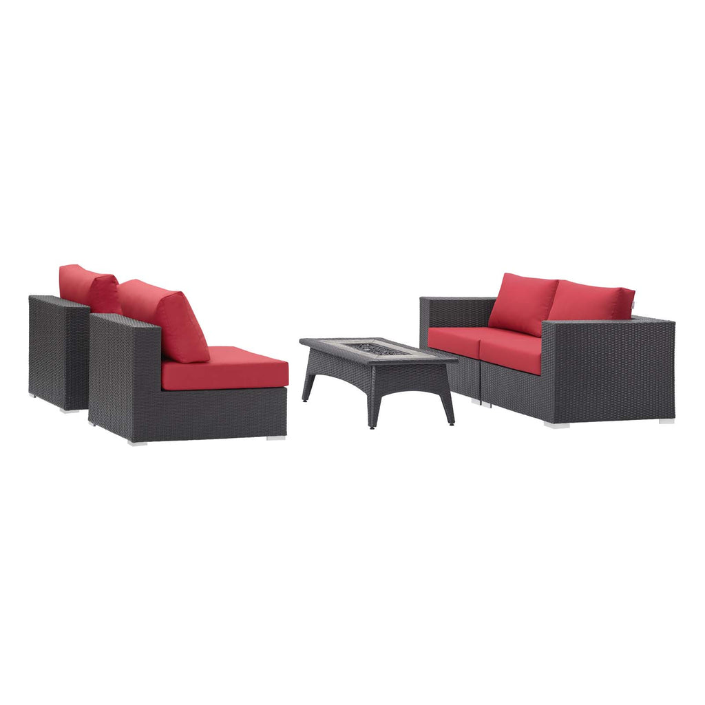 Convene 5 Piece Set Outdoor Patio with Fire Pit - Espresso Red
