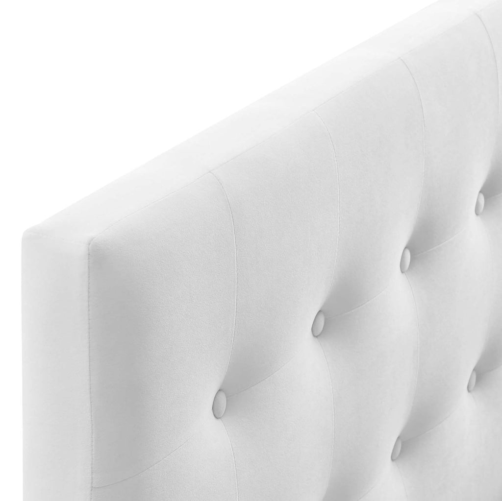 Emily Queen Biscuit Tufted Performance Velvet Headboard - White