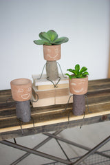 Set of 3 Clay and River Rock Pot Head Shelf Sitters