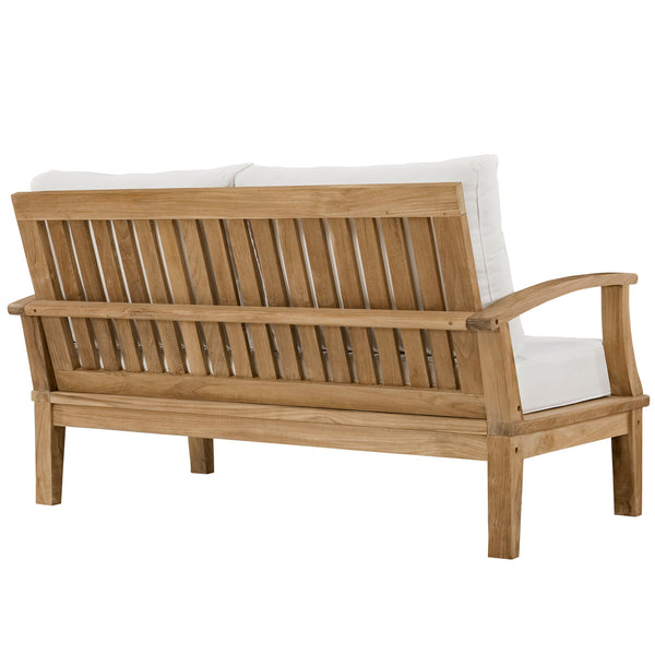 Marina Outdoor Patio Teak Loveseat - Natural White