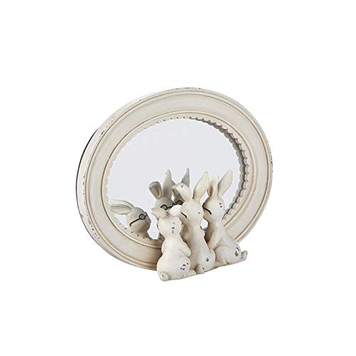 "Homestead 8.25"" Rabbits with Glasses Mirror Decor"