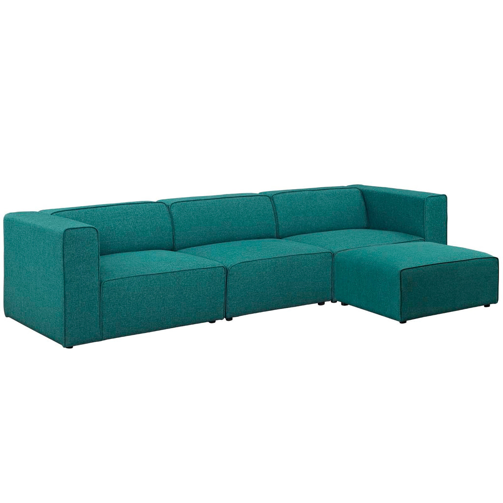 Mingle 4 Piece Upholstered Fabric Sectional Sofa Set - Teal